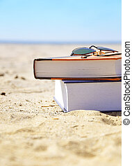 Vacation Beach with Books in Sand - A stack of books in on...