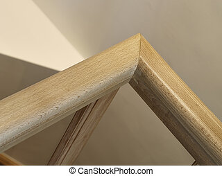 wooden stairwell in close-up
