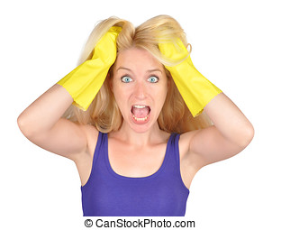 Cleaning Woman Chore Scare - A young chore lady is upset...