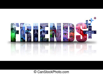Social Friends Icon Logo - the word Friends is isolated on a...
