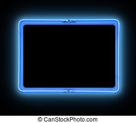 Bright Blue Border Neon Sign - A bright blue neon blank sign...