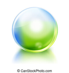 Green and Blue Nature Orb Icon - A bright green and blue...