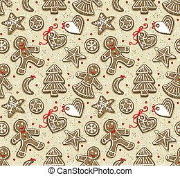 Christmas cookies - Seamless pattern with  Christmas cookies