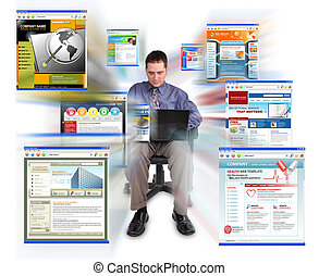 Business man Sitting with Internet Web Sites - A business...