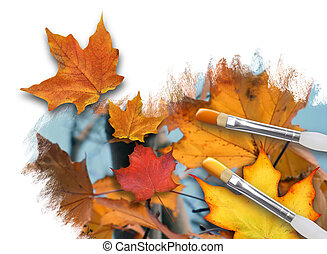 Painting Fall Season Leaves on White - An artist is painting...