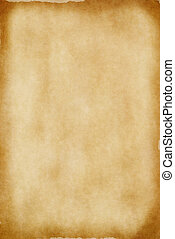 Old Parchment Paper - A sheet of yellowed patchy parchment...