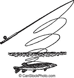 Symbol fishing. Pike rod. River. Vector illustration.