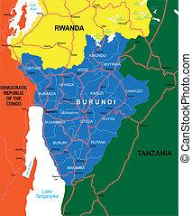 Burundi map - Highly detailed vector map of Burundi with...