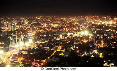 Metro Cebu at night - Panorama of Metro Cebu at night. Cebu...