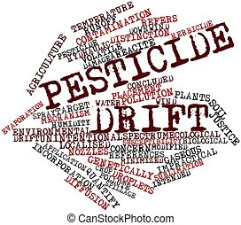 pesticida, deriva, nube, palabra