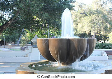Ojai Fountain - Water fountain in the middle of Ojai,...
