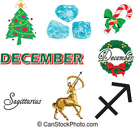 December Icons - Vector Illustration of eight December Icons...