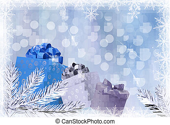 Christmas blue background with gift boxes and snowflake. Vector illustration.
