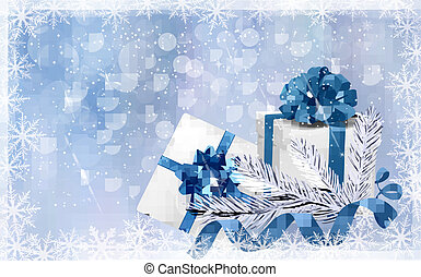 Christmas blue background with gift boxes and snowflake...