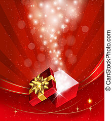 Christmas background with open gift box Vector