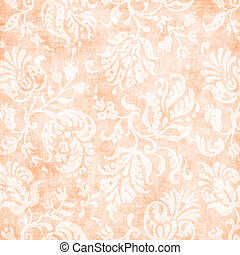 Vintage Pale Peach Floral Tapestry - Worn light peach floral...