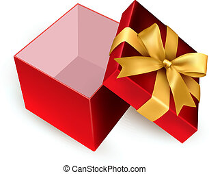 Open red gift box with golden ribbon Vector illustration