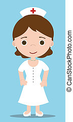 nurse character with blue background
