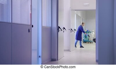 Cleaner washing floor in office - Woman working,...