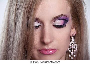 Make up. Eyeshadow makeup. Jewelry