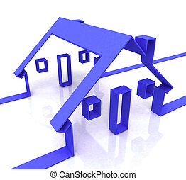 Blue House Symbol Shows Real Estate Or Rentals - Blue House...