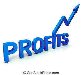 Blue Profit Word Shows Income Earned