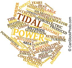 Tidal power - Abstract word cloud for Tidal power with...