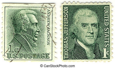 a vintage stamps with 7th president of USA  Andrew Jackson and 3rd Thomas Jefferson