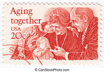 USA - CIRCA 1950 : stamp printed in USA with happy family in...