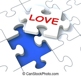 Love Puzzle Shows Loving Couples And Romance