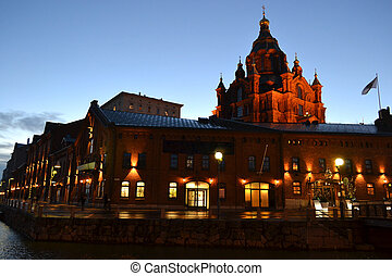 Uspenski Cathedral at night, Helsinki - The facade of...