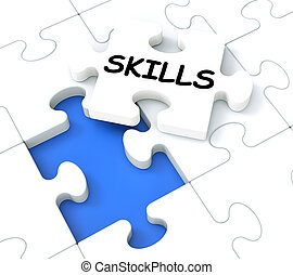 Skills Puzzle Shows Aptitudes And Talents - Skills Puzzle...