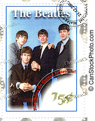 stamp with famous music group The Beatles