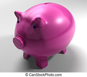 Piggy Bank Shows Savings Accounts - Piggy Bank Showing...