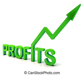 Green Profit Word Shows Income Earned - Green Profit Word...