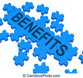 Benefits Puzzle Shows Company Rewards Or Bonus Compensation