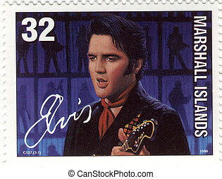 stamp of Marashall Islands with famous rock and roll singer...