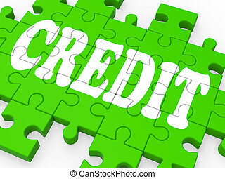 Credit Puzzle Shows Shopping Cashless And Bank Loan