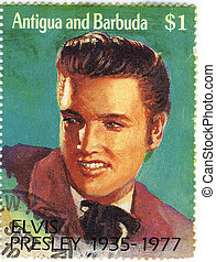 elvis - vintage stamp with famous singer Elvis Presley