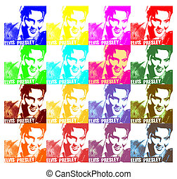 Elvis Presley paper illustration like a Andy Warhol 4 x 6