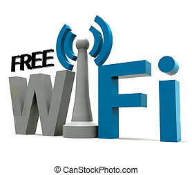 Boxed Free Wifi Internet Symbol Shows Coverage - Boxed Free...