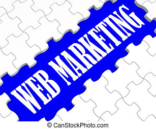 Web Marketing Puzzle Shows Internet Sales And Advertising
