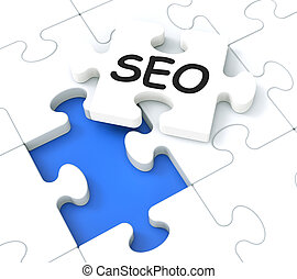 SEO Puzzle Showing E-Marketing And Promotions - SEO Puzzle...
