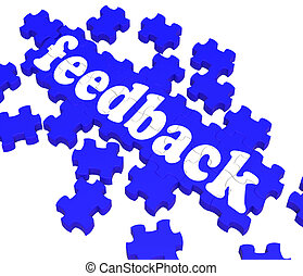 Feedback Puzzle Shows Satisfaction Surveys And Evaluations