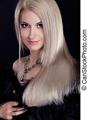 Blond woman with Healthy Long Hair isolated on black...