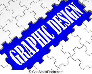 Graphic Design Puzzle Shows Digital Creativity And Art