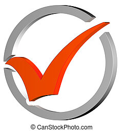 Orange Tick Circled Shows Quality And Excellence - Orange...