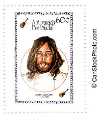 ANTIGUA AND BARBUDA ? CIRCA 2006 :  John Lennon - 1960s famous musical pop singer from group The Beatles.