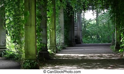 shaded walkway - view over the green shady rotunda with...