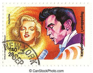 vintage stamp with Merilyn Monroe and Elvis Presley
